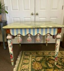 Mackenzie-childs Faux Marble Courtly Check Striped Polka Dot Side Accent Table
