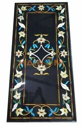 5and039x3and039 Black Marble Dining Table Floral Top Furniture Inlaid Marquetry Decor B266