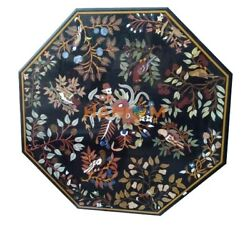 36'' Black Marble Dinner Table Top Birds With Floral Interior Inlaid Decor B272