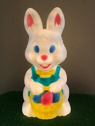 19 Easter Bunny With Basket Of Eggs Lighted Blow Mold Decoration