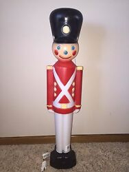 New 31 Christmas Lighted Blow Mold Toy Soldier Yard Decoration