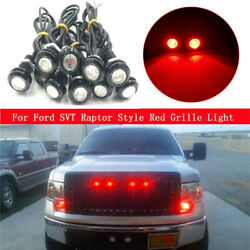 10raptor Style Led Red Grille Mark Light For Ford F250 F350 F450 Super Duty Suv