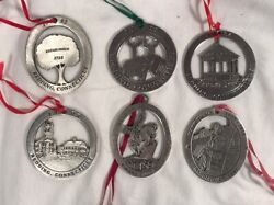 Lot 6 Woodbury Pewter Redding Connecticut Christmas Ornaments 1992-1997