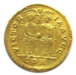 Ancient Roman Gold Solidus Of Valentinian Ii Milan 378 - 383 A.d. Vf Excavated