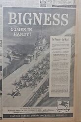 Large 1959 Newspaper Ad For Socony Vacuum Oil - Aircraft Carrier, Bigness Handy