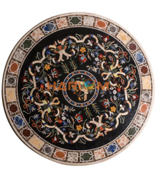 42 Black Collectible Marble Dinner Top Table Semi Precious Inlay Home Arts B297