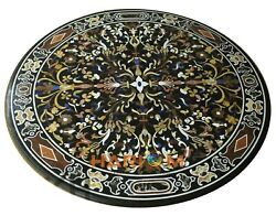 42 Round Marble Dinner Table Top Office Marquetry Inlaid Collectible Decor B303