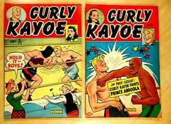 2 Curly Kayoe 1946 Comic Books 7 And 8 Golden Age Lot Boxing Cover Art Sam Leff