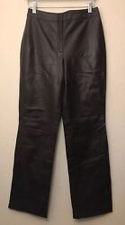 Nwt 179 Ann Taylor Loft 100 Leather Lined Pants Brown Size 4 Women's