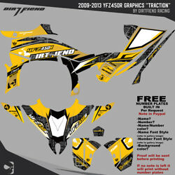 Dfr Traction Graphic Kit Yellow Sides/fenders 2009-2013 Yamaha Yfz450r