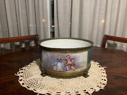 Sevres Style Centerpiece Or Jardiniere 19th Century Large Light Blue Ground