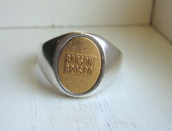 Rare 14k Gold Sterling Silver Babson Bros Co Dairy Farm Equipment Ring