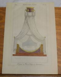 Early 1800s Antique Color Print///antique Shrouded Mahogany Bed