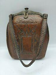Antique Leather Hand Tooled Purse Art Deco Design Butterfly Vines 1900-1920's