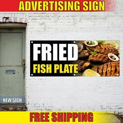 Fried Fish Plate Banner Advertising Vinyl Sign Flag Served Food Catering Service