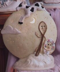Nursery Rhyme Cow Jumped Over Moon Ready To Paint Ceramic Bisque