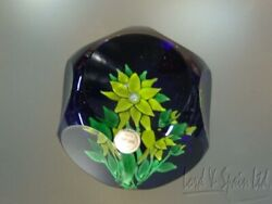 Saint St Louis 1970 Annual Edition Green Clematis Art Glass Paperweight