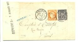 France 1877 Letter To Paris Mixed Combination 35 + 89 --rare F/vf