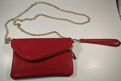 Red Clutch Hand Bag With Gold Chain $18.99