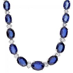 29.10ct Natural Sapphire And Diamond 14k Solid White Gold Necklace