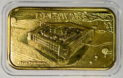Americas 50 Fifty States 18k Gold Plated Delaware Fort The First State