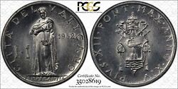 Vatican City 1 Lira 1952 Ms66 Pcgs Aluminum Km49.1 Pius Xii Finest And Only