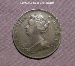 1708 Queen Anne Silver Halfcrown - Plumes In Angles - Rare Coin Nice Grade