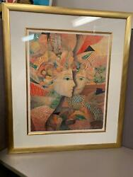 Signed Limited Ed Serigraph Ap Framed Matted The Lovers By Yankel Ginzburg