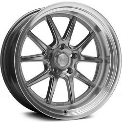 Staggered 18x8 / 18x9 Rocket Racing Attack Hypershot 5x4.5 +13/+13 Wheels Rims
