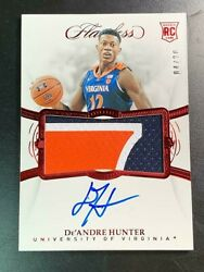 2019 Panini College Flawless Basketball De'andre Hunter Rookie Jersey Auto /20