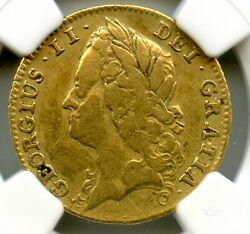 Great Britain 1740 Gold Half Guinea, Rare 3yr Only Type, S.3683 Ngc Graded F-15