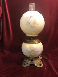 Antique Gone With The Wind Gwtw Electrified Oil Lamp Cherubs Hurricane Glass