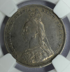 Great Britain 1 Shilling 1889 Ef40 Ngc Silver Km761 Uk 1s Small Bust Rare