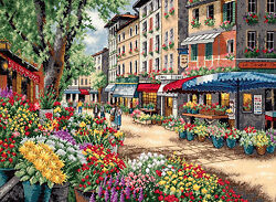 Cross Stitch Kit Gold Collection Paris Market Outdoor French Cafe #35256