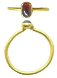 13th-14th Century Medieval Gold And Almandine Garnet Finger Ring Wearable Size 6