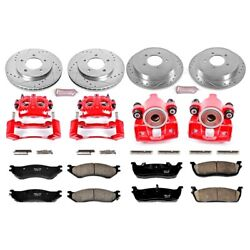 Kc1870 Powerstop Brake Disc And Caliper Kits 4-wheel Set Front And Rear For Ford
