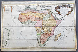 1674 A H Jaillot And Nicolas Sanson Large Antique 1st Edition Map Of Africa