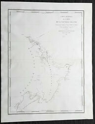 1827 Dumont D Urville Large Antique Map Of North And South Islands Of New Zealand