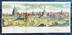1704 Mortier Antique Print Panoramic View Of Rome Italy