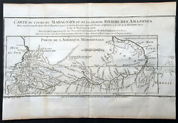 1750 Bellin And Condamine Antique Map Of The River South America 1743-44