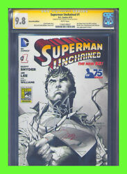 Superman Unchained 1 Cgc 9.8 Ss Jim Lee Scott Snyder Sdcc Convention Variant