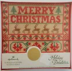Nos Vintage Hallmark Christmas Holiday Postalettes 12 Fold Up Notes And 12 Seals
