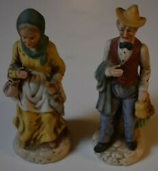 Vintage OLD MAN amp; WOMAN Farmers Couple Figurines 8 1 4 inches tall