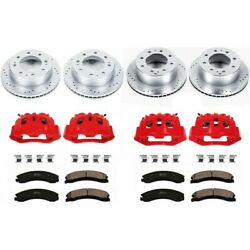 Kc1944a Powerstop 4-wheel Set Brake Disc And Caliper Kits Front And Rear For F-150