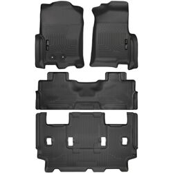 Set-h2118371 Husky Liners Floor Mats Front New Black For Ford Expedition Lincoln