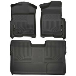 Set-h2118331 Husky Liners Floor Mats Front New Black For F150 Truck Ford F-150