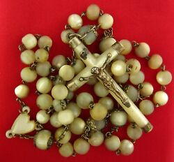 Antique Large Mother Of Pearl Rosary Mop Beads Heart Center And Crucifix W/ Silver