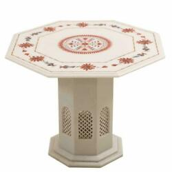 24 Marble Coffee Table Inlay Semi Precious Stones Pietra Dura With Marble Stand