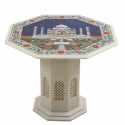 24 Marble Coffee Table Semi Precious Stones Inlay Pietra Dura With Marble Stand