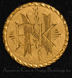 1864 Love Token Engraved Enk Copper Shield 2 Cent Piece Gold Plated